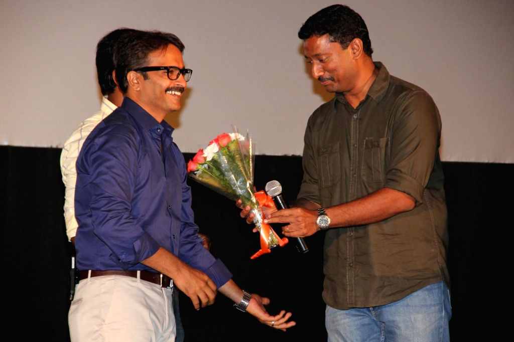 Stills from the audio launch of upcoming Tamil film 'Thirudan Police'. (Photo : IANS)