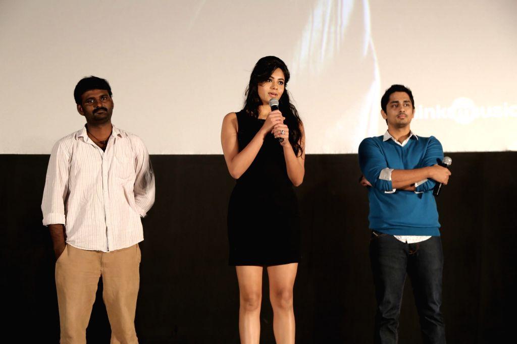 Stills from the audio launch of upcoming Tamil film `Enakkul Oruvan`.