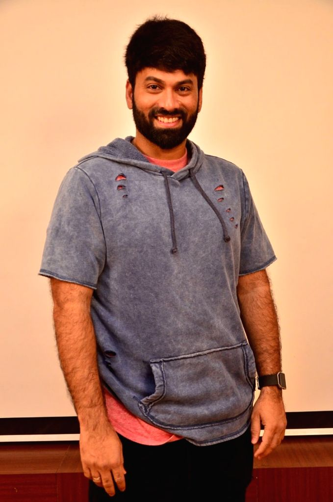 Stills Ohmkar interview in Hyderabad.