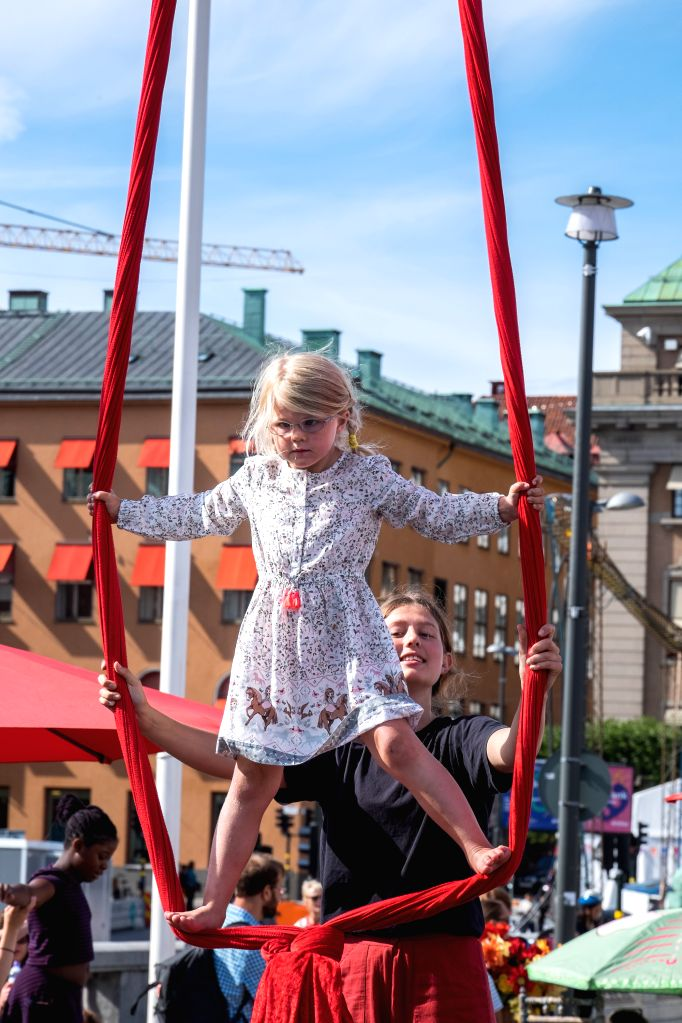 STOCKHOLM, Aug. 15, 2017 - A girl plays at Stockholm's Culture Festival in Stockholm, capital of Sweden, on Aug. 15, 2017.