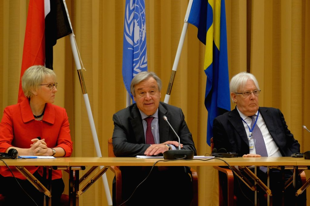 STOCKHOLM, Dec. 14, 2018 - Swedish Foreign Minister Margot Wallstrom (L), UN Secretary-General Antonio Guterres (C) and the United Nations Special Envoy Martin Griffiths attend a press conference in ... - Margot Wallstrom