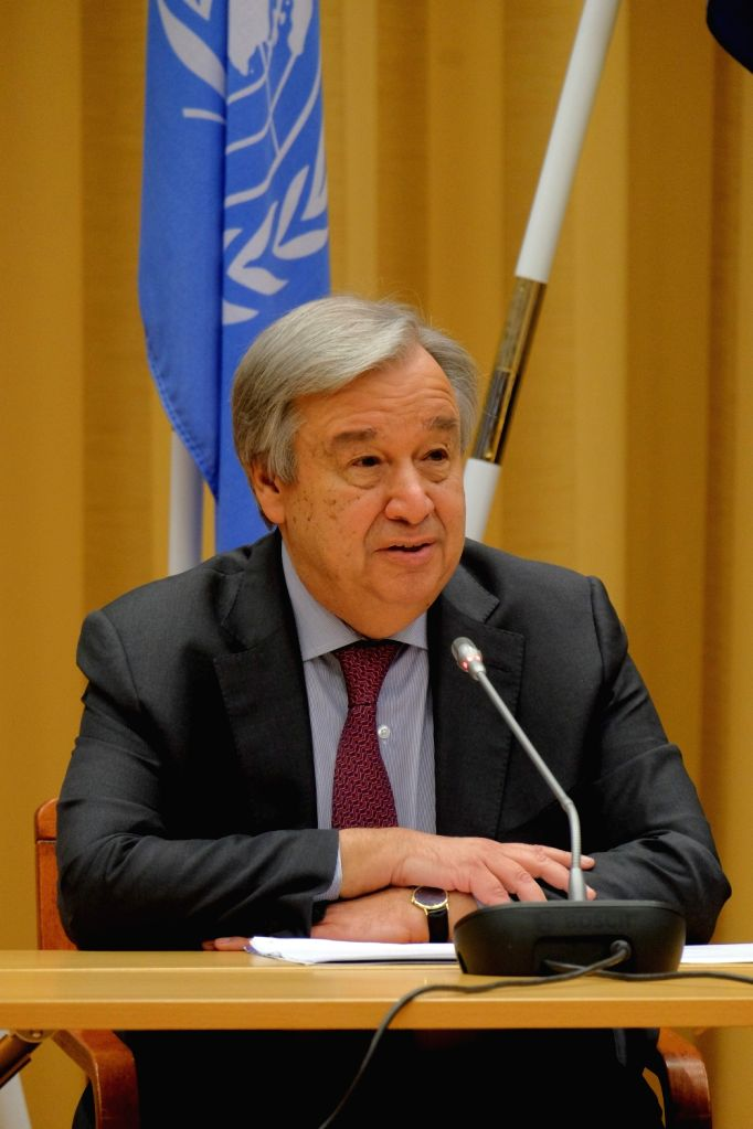 STOCKHOLM, Dec. 14, 2018 - UN Secretary-General Antonio Guterres attends a press conference in Stockholm, Sweden, on Dec. 13, 2018. The week-long Yemen peace talks concluded in Sweden on Thursday, ...