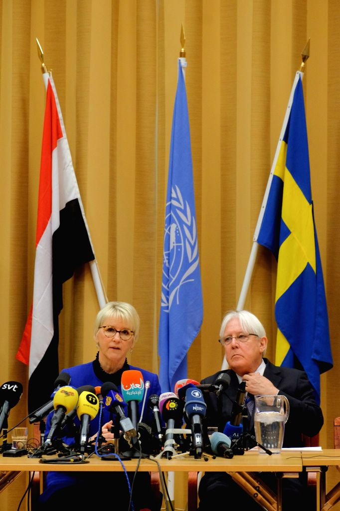 STOCKHOLM, Dec. 7, 2018 - Swedish Foreign Minister Margot Wallstrom (L) and the United Nations Special Envoy Martin Griffiths attend a press conference ahead of the peace talks between the Yemeni ... - Margot Wallstrom