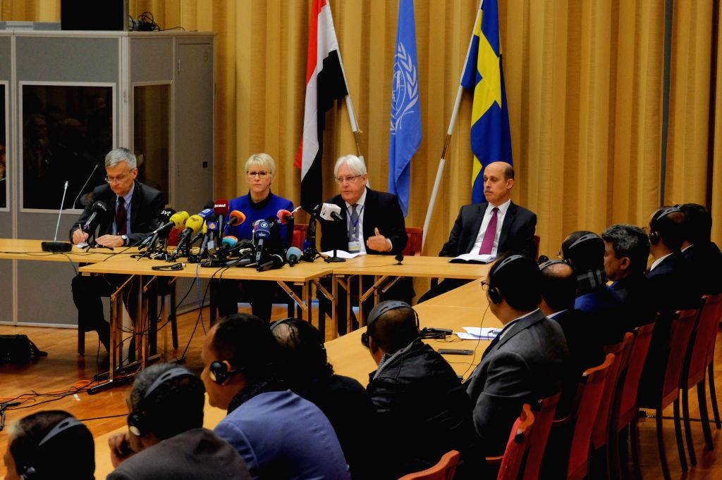 STOCKHOLM, Dec. 7, 2018 - Swedish Foreign Minister Margot Wallstrom (2nd L) and the United Nations Special Envoy Martin Griffiths (2nd R) attend a press conference ahead of the peace talks between ... - Margot Wallstrom