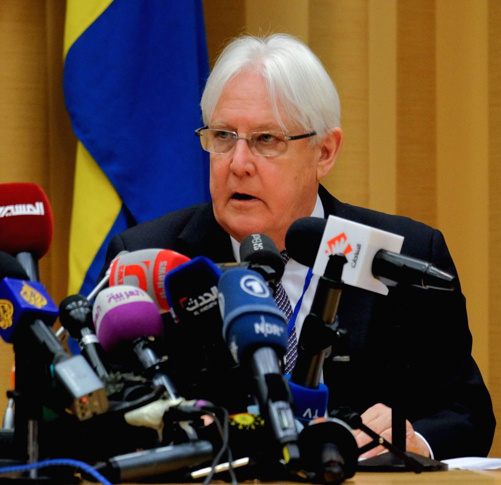 STOCKHOLM, Dec. 7, 2018 - The United Nations Special Envoy Martin Griffiths speaks at a press conference ahead of the peace talks between the Yemeni government and Houthi rebels at Johannesberg ...