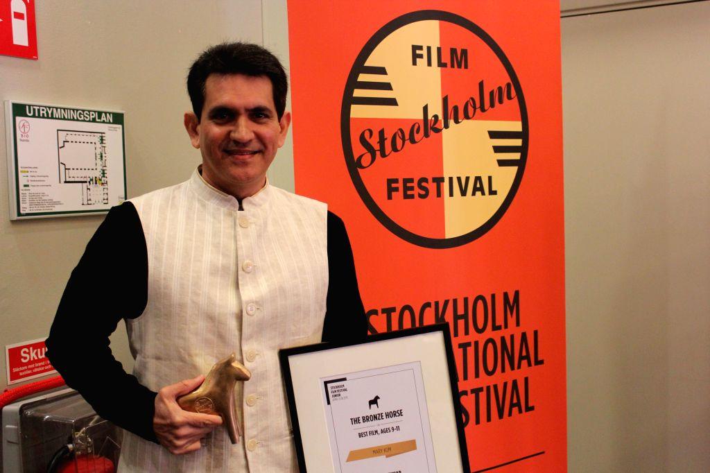Stockholm Filmmaker Omung Kumar at Stockholm International Film Festival Junior in Sweden on April 19, 2015.