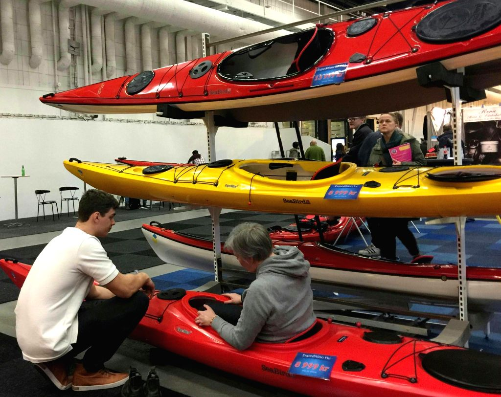 STOCKHOLM, March 11, 2017 - A Swede experiences a SeaBird kayak at the 2017 Swedish Outdoor Show in Stockholm, capital of Sweden, on March 11, 2017. The show, held from March 10 to March 12, is ...
