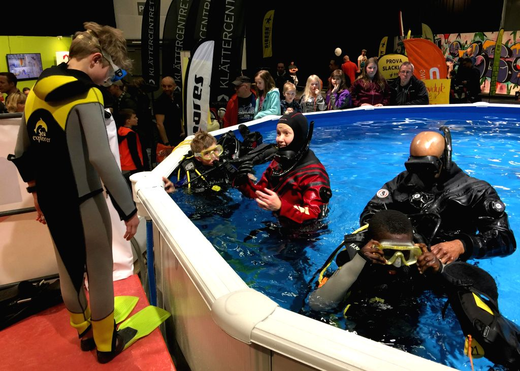 STOCKHOLM, March 11, 2017 - Swedes experience diving at the 2017 Swedish Outdoor Show in Stockholm, capital of Sweden, on March 11, 2017. The show, held from March 10 to March 12, is expected to ...