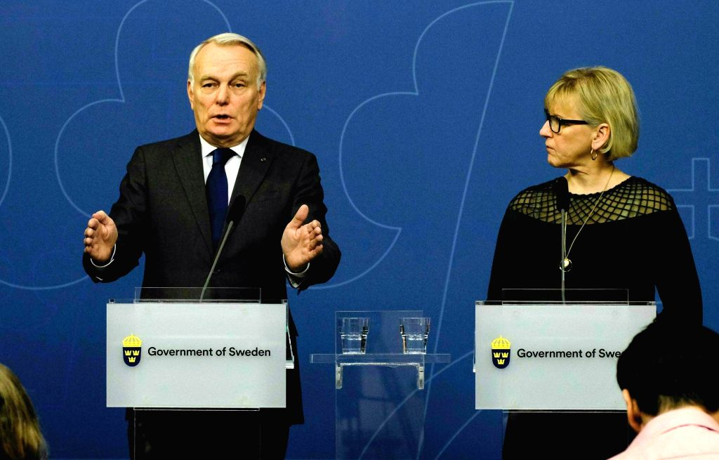 STOCKHOLM, March 14, 2017 - French Foreign Minister Jean-Marc Ayrault (L) speaks while his Swedish counterpart Margot Wallstrom looks on during a press conference in Stockholm, capital of Sweden, ... - Jean-Marc Ayrault