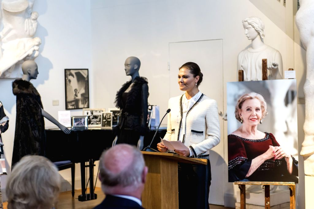 """STOCKHOLM, March 17, 2017 - Sweden's Crown Princess Victoria addresses the opening ceremony of """"Chanel, Balmain, Dior: Marianne Bernadotte - a style icon"""" exhibition at Millesgarden in ..."""