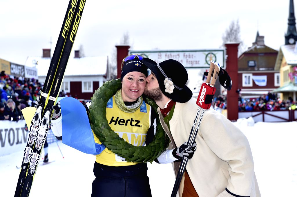 STOCKHOLM, March 6, 2017 - Sweden's Britta Johansson Norgren (L) poses for photos after winning the women's Vasaloppet cross-country ski race champion in the Dalarna region of central Sweden, March ...