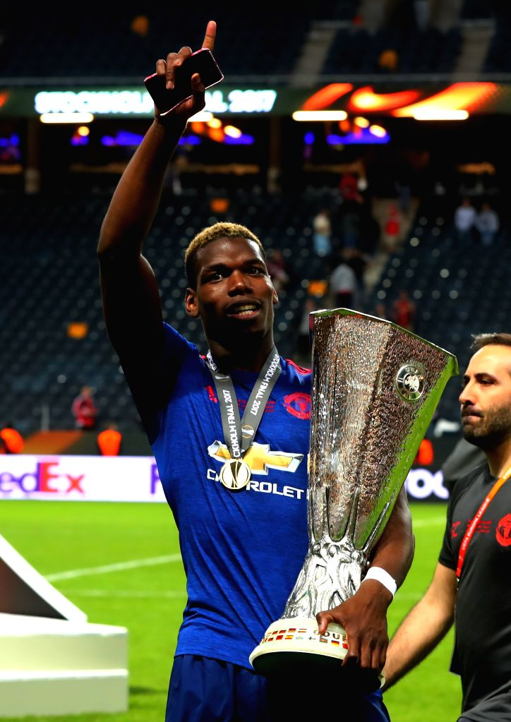 STOCKHOLM, May 25, 2017 - Manchester United's Paul Pogba celebrates with the trophy after winning the UEFA Europa League Final match between Manchester United and Ajax Amsterdam at the Friends Arena ...