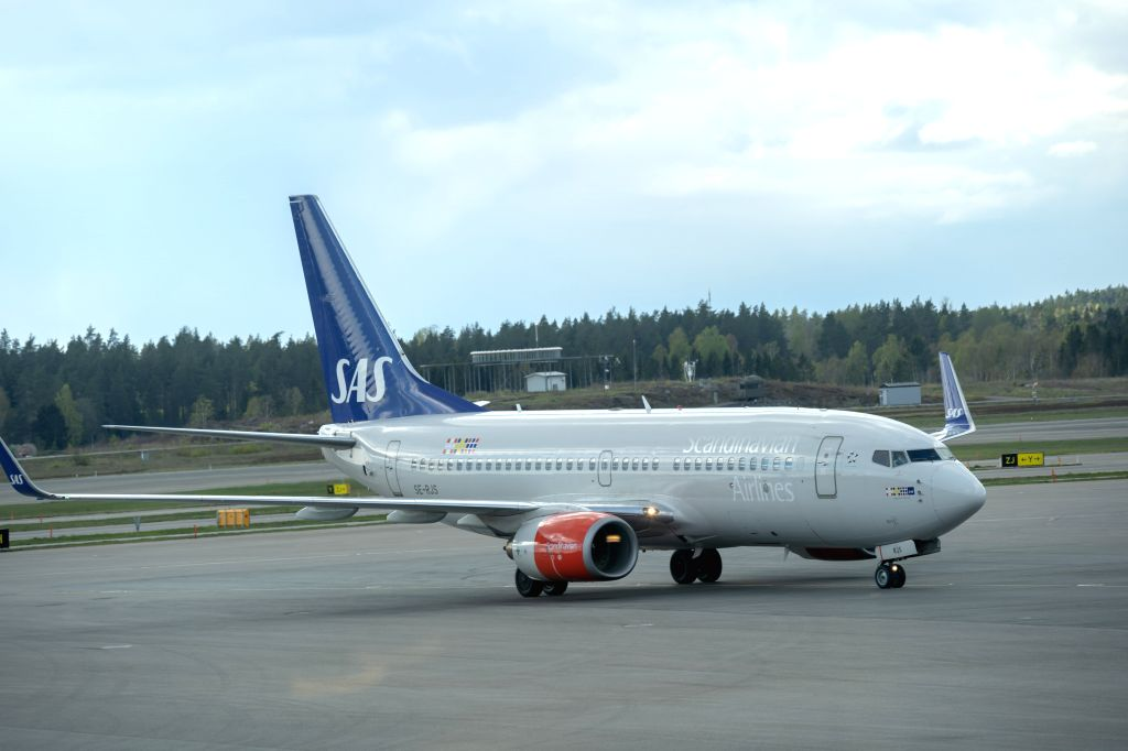 STOCKHOLM, May 3, 2019 - A Scandinavian Airlines (SAS) airplane is seen after landing at Stockholm Arlanda Airport in Stockholm, Sweden, on May 3, 2019. The Scandinavian Airlines (SAS) pilot strike ...