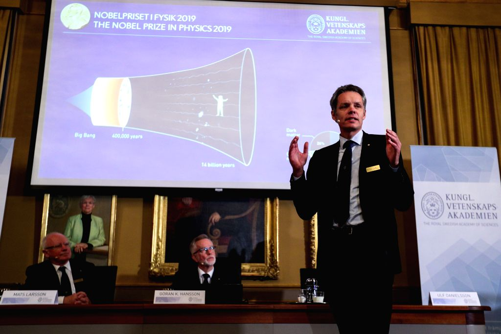 STOCKHOLM, Oct. 8, 2019 - Ulf Danielsson, a member of the Nobel Committee for Physics, speaks at the announcement of the 2019 Nobel Prize in Physics in Stockholm, Sweden, Oct. 8, 2019. The 2019 Nobel ...