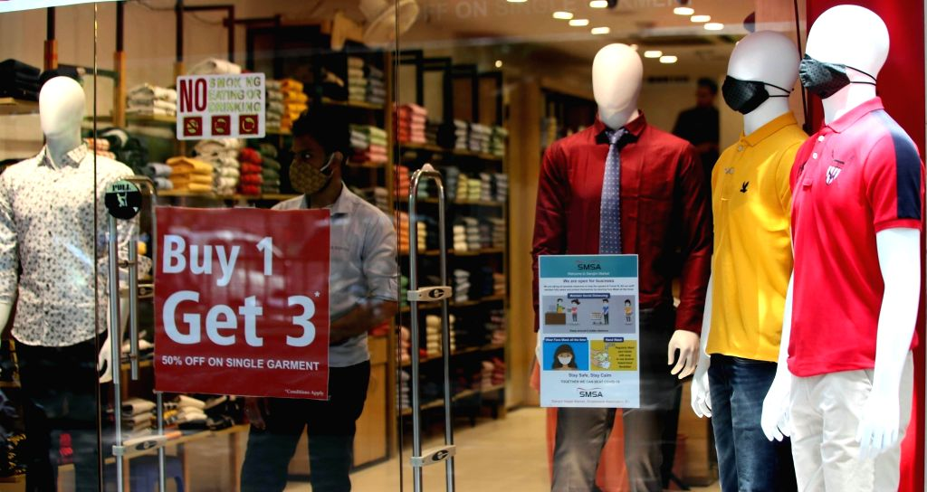 Stores at Connaught Place bear a deserted look with absence of buyers after they reopen amid COVID-19 pandemic, in New Delhi on Sep 23, 2020.
