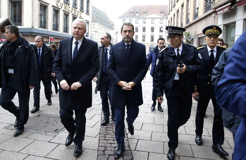 STRASBOURG, Dec. 12, 2018 - French Interior Minister Christophe Castaner (C) inspects the site of attack in the center of Strasbourg, France on Dec. 12, 2018. French police are looking for a gunman ... - Christophe Castaner