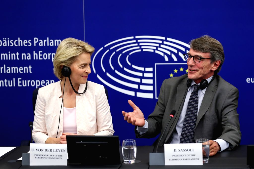 STRASBOURG (FRANCE), July 16, 2019 President-elect of the European Commission Ursula von der Leyen (L) and President of the European Parliament David-Maria Sassoli attend a press ...