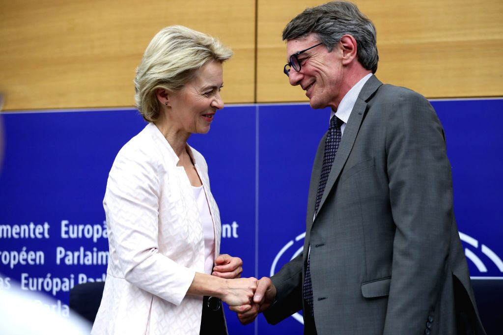 STRASBOURG (FRANCE), July 16, 2019 President-elect of the European Commission Ursula von der Leyen (L) shakes hands with President of the European Parliament David-Maria Sassoli after a ...