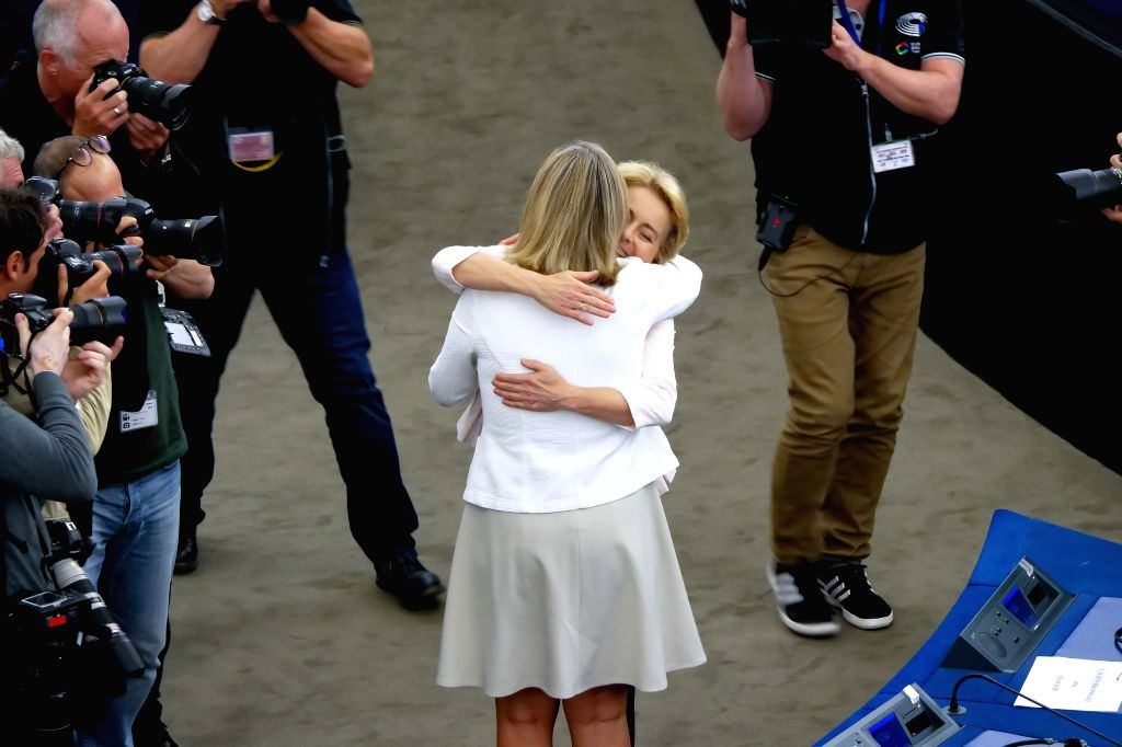 STRASBOURG (FRANCE), July 16, 2019 Ursula von der Leyen (Central R) is congratulated by a member of the European Parliament after being elected the next president of the European ...