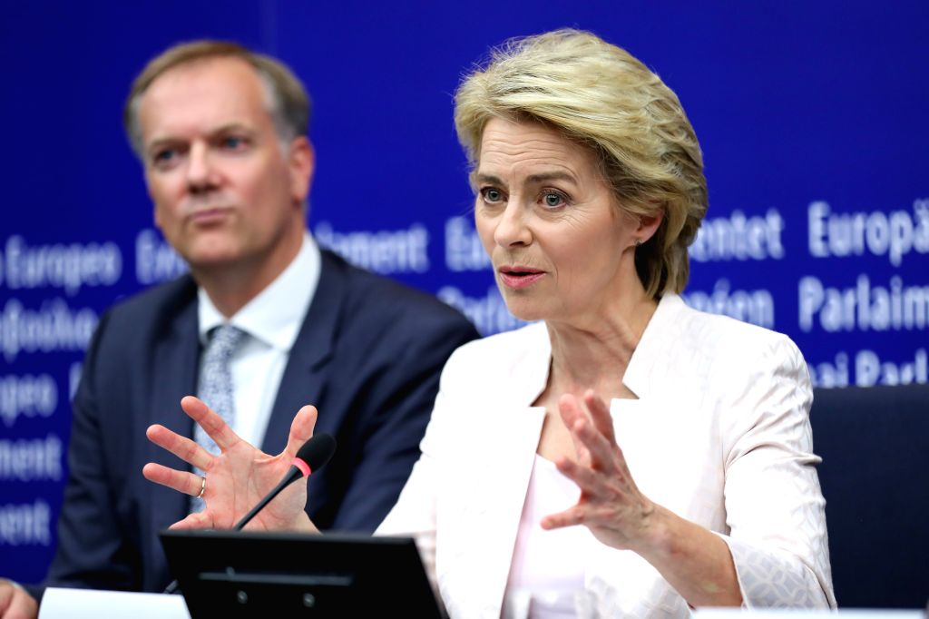 STRASBOURG (FRANCE), July 16, 2019 Ursula von der Leyen (front) attends a press conference after being elected the next president of the European Commission at the headquarters of ...
