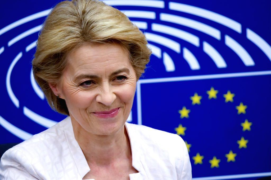 STRASBOURG (FRANCE), July 16, 2019 Ursula von der Leyen attends a press conference after being elected the next president of the European Commission at the headquarters of European ...