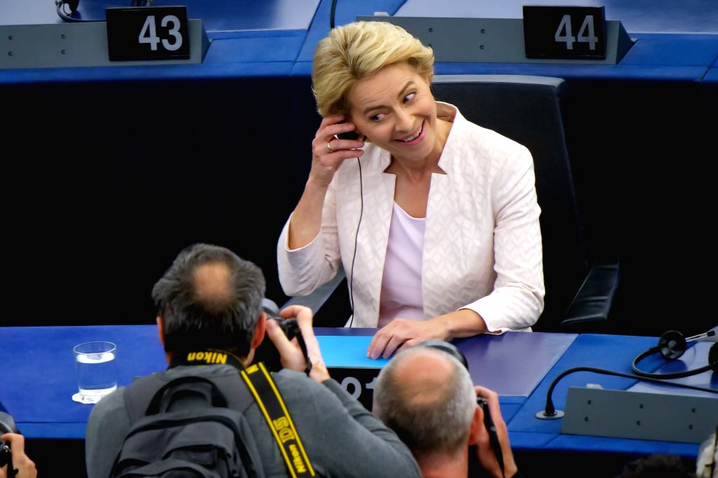 STRASBOURG (FRANCE), July 16, 2019 Ursula von der Leyen (R) reacts after being elected the next president of the European Commission at the headquarters of European Parliament in ...