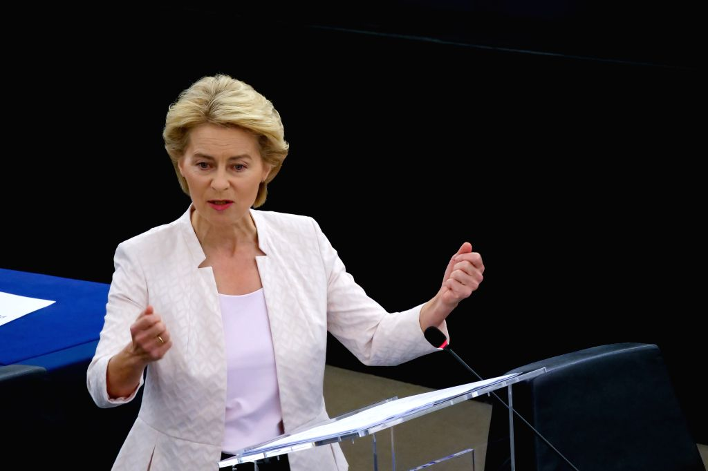 STRASBOURG, July 16, 2019 (Xinhua) -- Ursula von der Leyen, the German candidate for president of the European Commission, makes a statement at the headquarters of the European Parliament in Strasbourg, France, July 16, 2019. The European Parliament