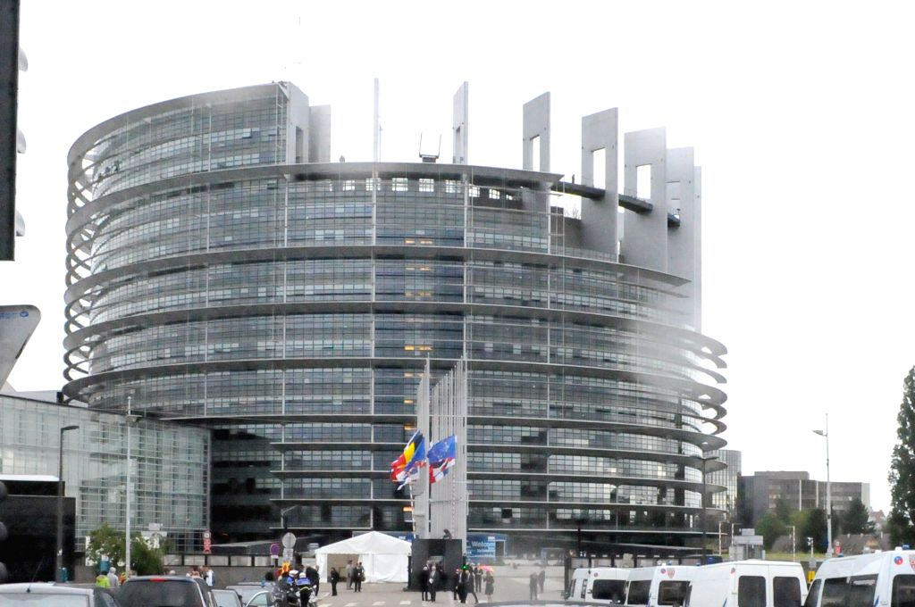 STRASBOURG, July 2, 2017 - Flags fly at half mast to commemorate former German Chancellor Helmut Kohl at the European Parliament in Strasbourg, France, on July 1, 2017. Kohl died on June 16 at 87. ...