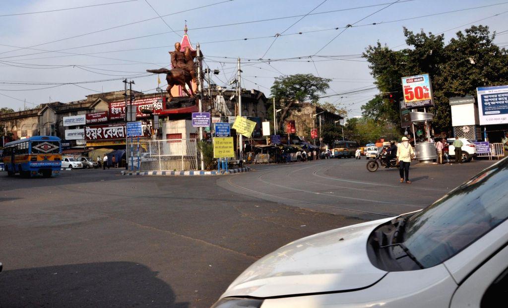 Street are deserted amid outbreak of Coronavirus (COVID-19) in Kolkata on March 19,2020.