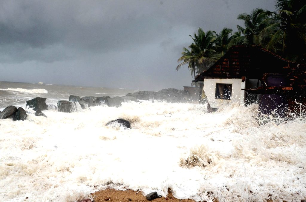 Strong waves hit the sea shore in Mangaluru on July 17, 2018.