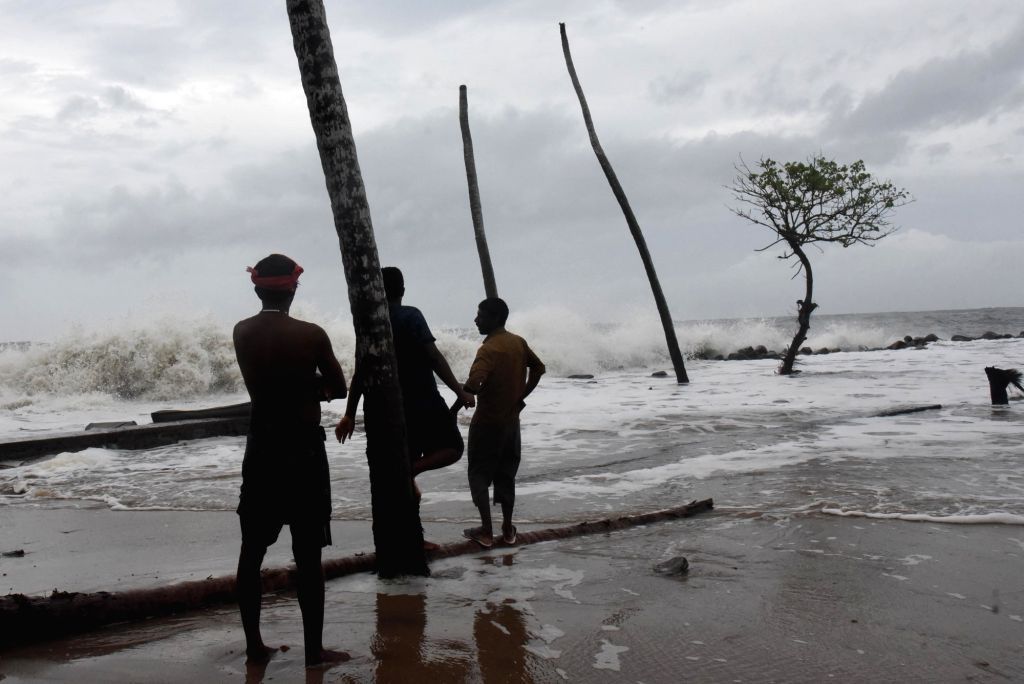 Strong waves hit the shore in Kannamaly near Kochi on June 10, 2019. A cyclonic storm is gradually building up in the Arabian Sea, the India Meteorological Department (IMD) said.