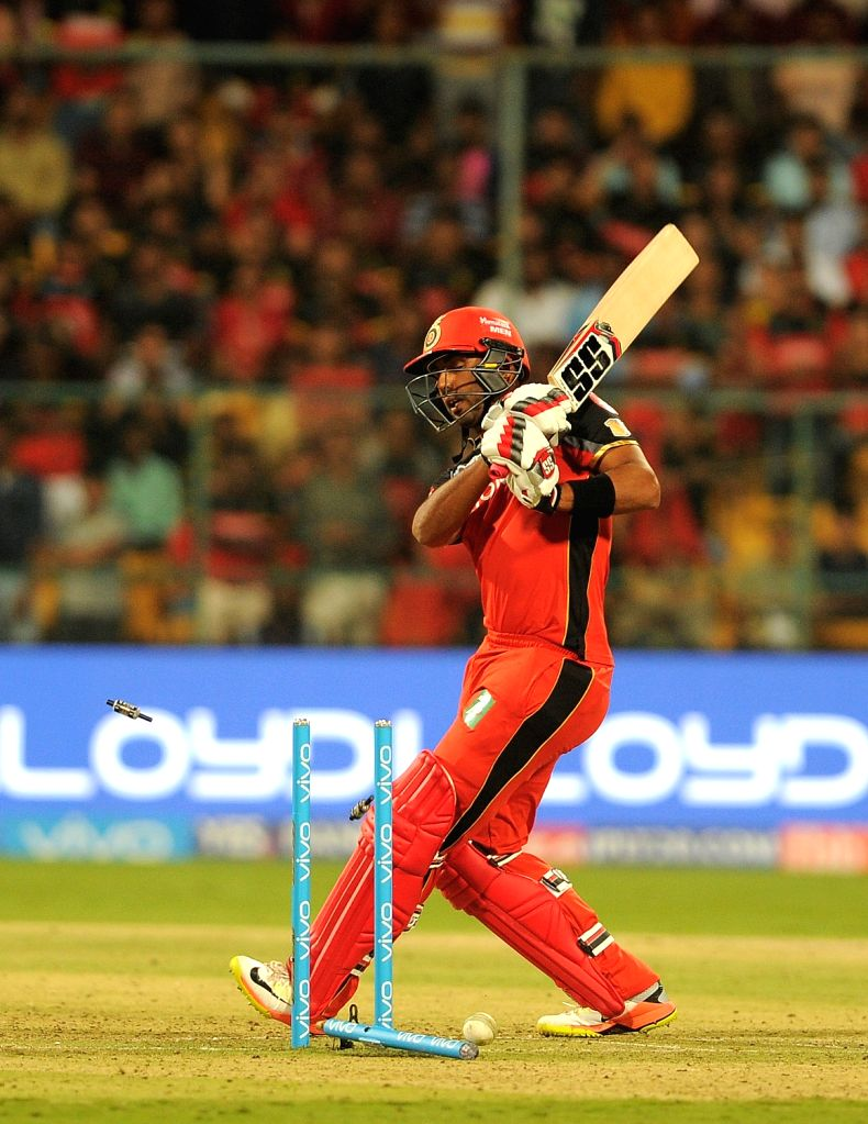 Stuart Binny of Royal Challengers Bangalore gets dismissed during an IPL 2017 match between Royal Challengers Bangalore and Rising Pune Supergiant at M Chinnaswamy Stadium in Bengaluru on ...