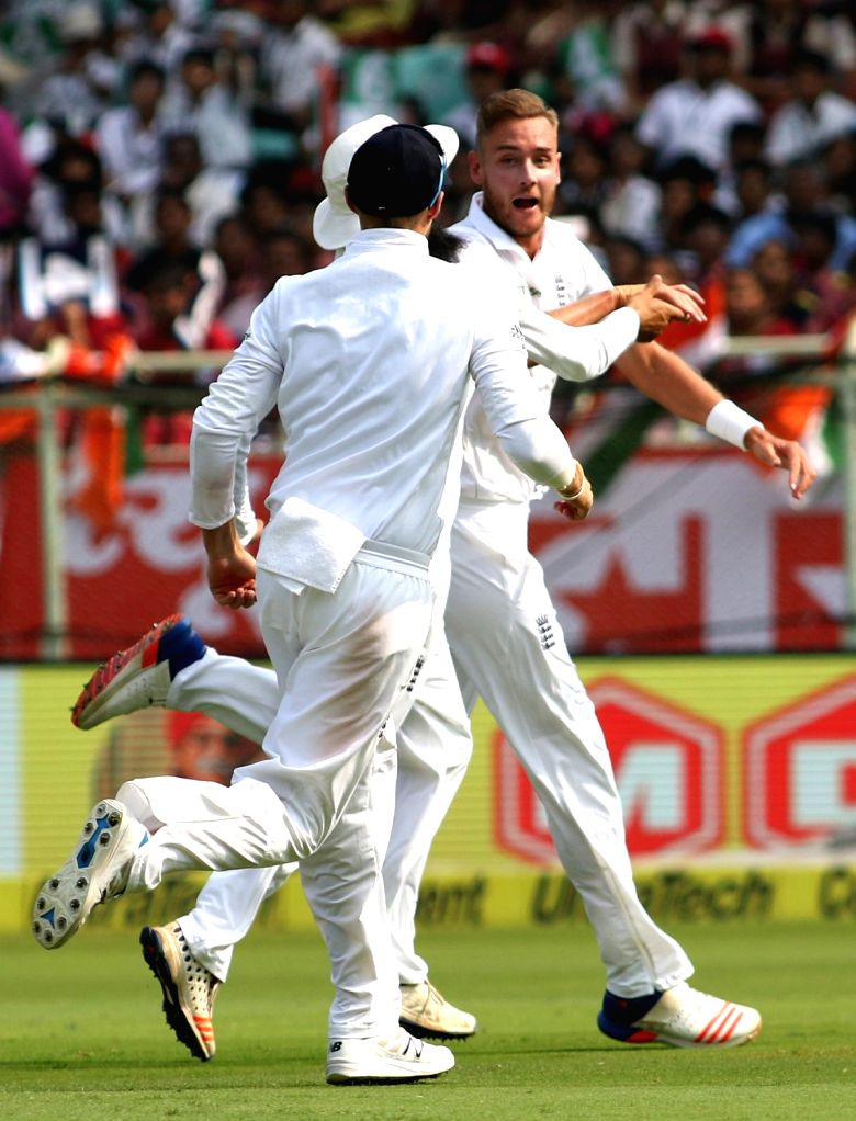 Stuart Broad of England celebrates wicket of KL Rahul of India during day one of the 2nd test match between India and England at the Dr. Y.S. Rajasekhara Reddy ACA-VDCA Cricket ...