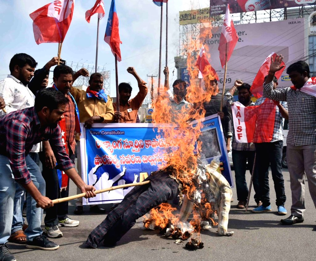 Student activists of All India Students Federation (AISF) and All India Youth Federation (AIYF) stage a demonstration against the Citizenship Amendment Act 2019, in Hyderabad on Dec 14, ...