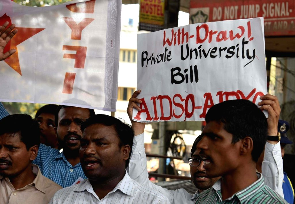 Student activists stage a demonstration against the passage of Telangana State Private Universities Bill-2018 in the state assembly, in Hyderabad on March 29, 2018.