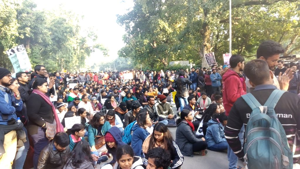 Student activists stage a sit-in demonstration outside the HRD Ministry, against recent violence at JNU, demanding the resignation of the Vice Chancellor of the varsity, in New Delhi on ...