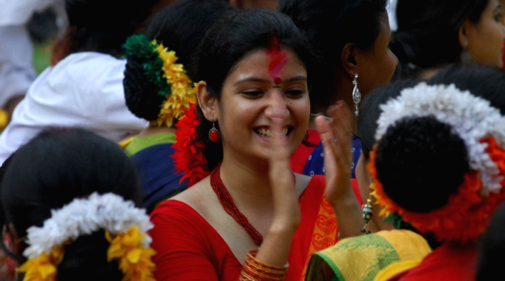 Student of Rabindra bharati University observe Vasanta Utsav at Rabindranath Tagore House in Kolkata on Monday 9th Mar 09, The Noble laureate had been so inspired by the spirit of Holi, that he decide