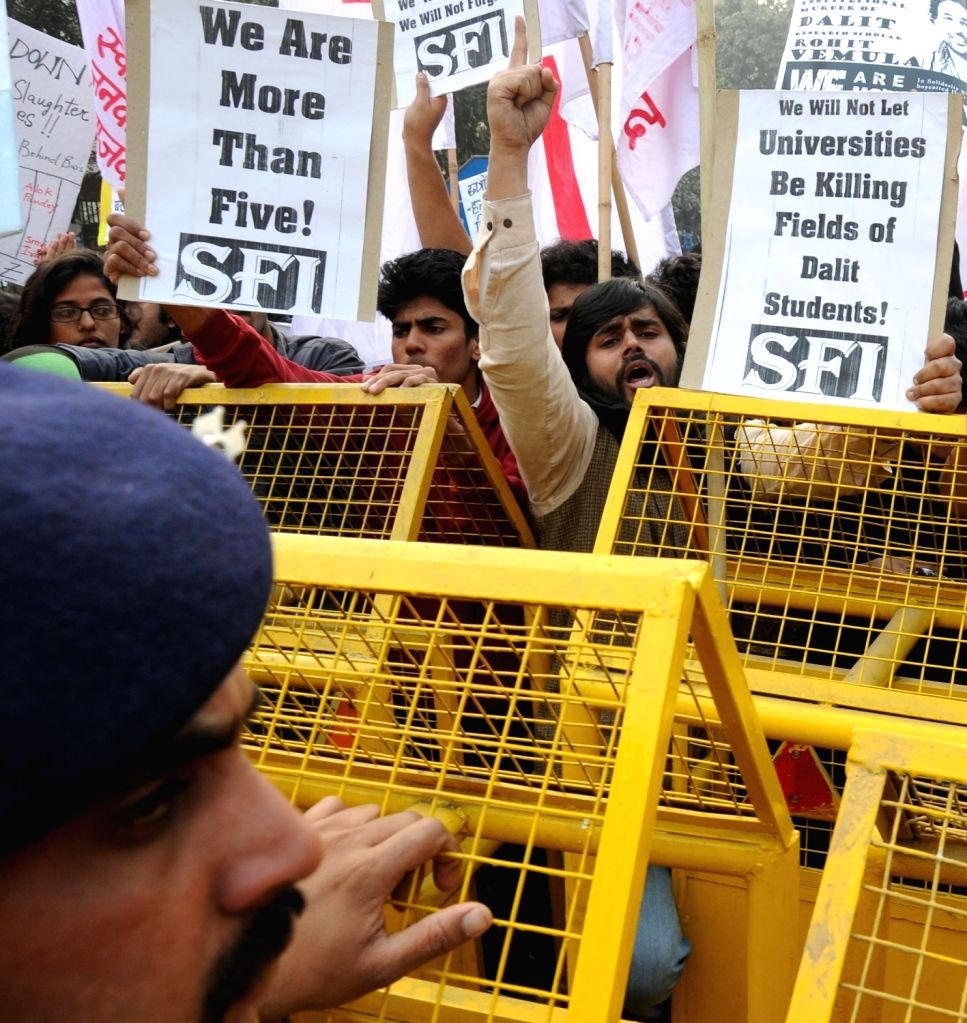 Students affiliated to left wing students organisation stage a demonstration against the suicide of Rohith Vemula, a Dalit research scholar of the University of Hyderabad (UoH) in New ...