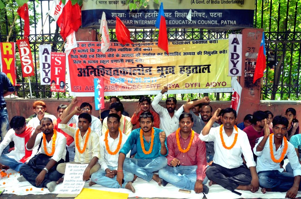 Students affiliated to Leftist student organisations stage a demonstration to press for their demands in Patna on June 12, 2017.