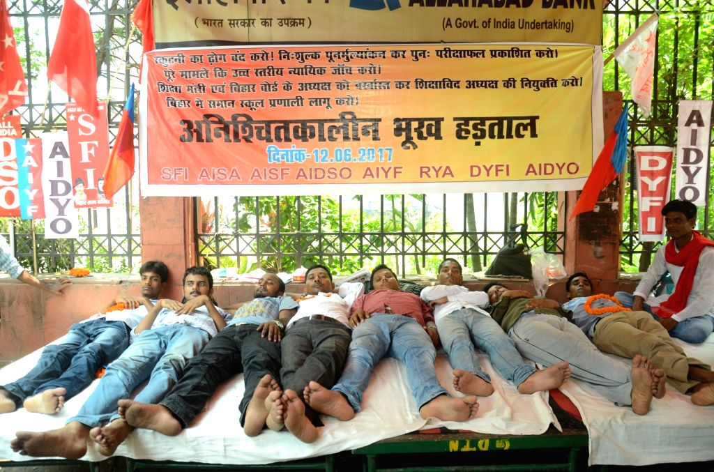 Students affiliated to Leftist student organisations stage a demonstration to press for their demands in Patna on June 13, 2017.