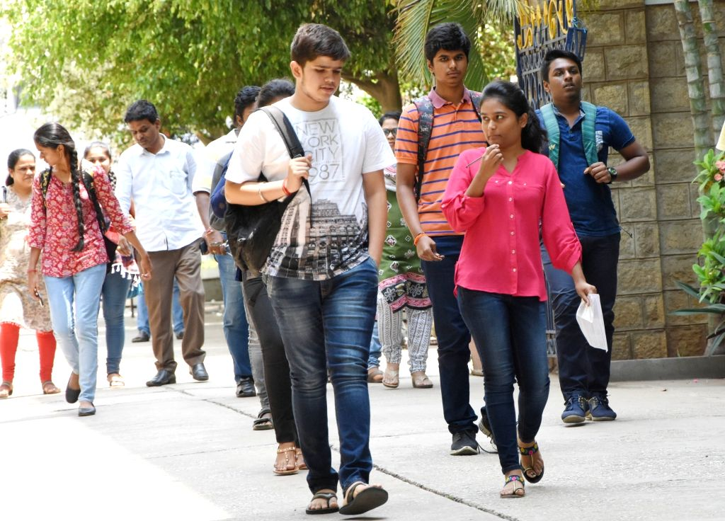 Students after writing Consortium of Medical, Engineering and Dental Colleges of Karnataka (COMEDK) UGET 2019 exam, in Bengaluru, on May 12, 2019.