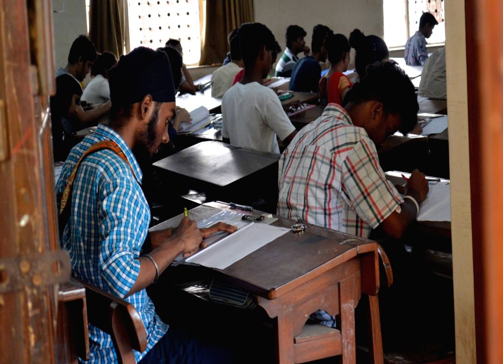 Students appear in Higher Secondary Exams at an exam centre in Mumbai on Feb 21, 2019.