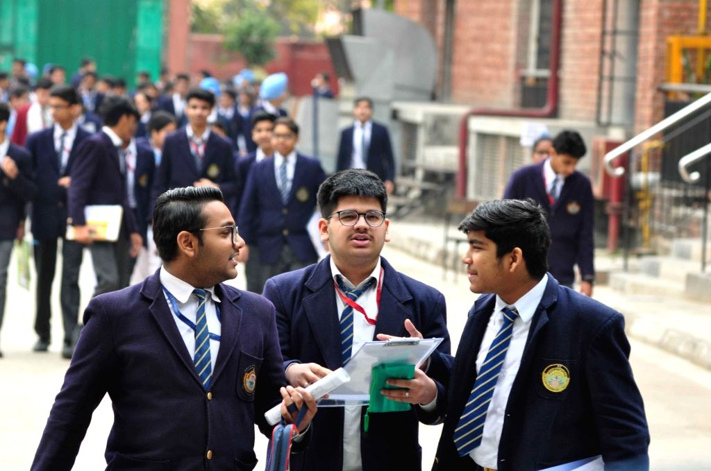 Students appearing in class 10 exams conducted by CBSE come out of an exam centre in New Delhi, on March 7, 2019.