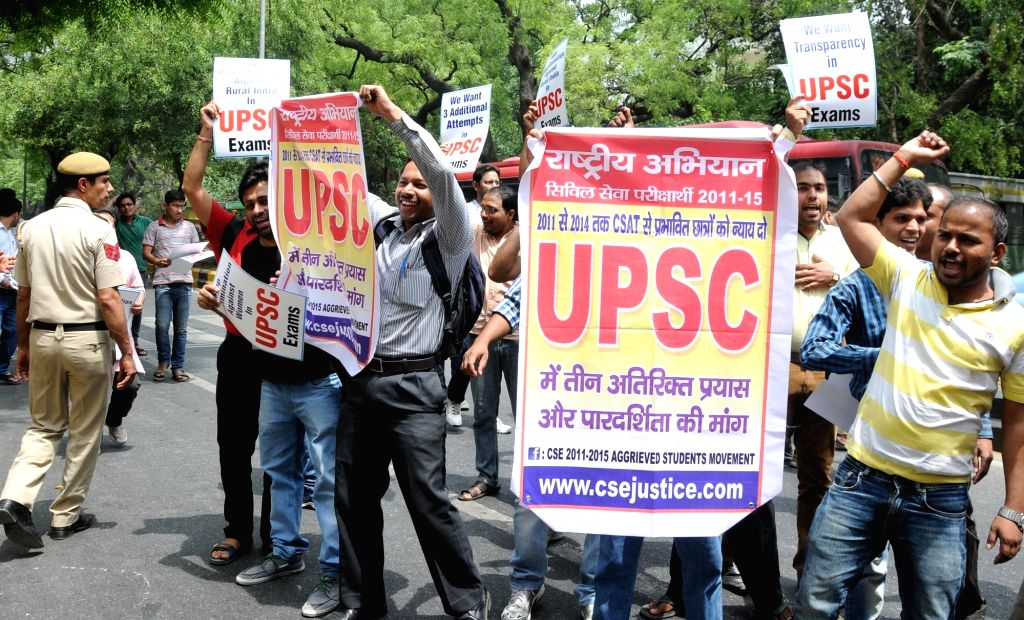 Students appearing in UPSC exams stage a demonstration to press for their demands in New Delhi, on April 19, 2016.