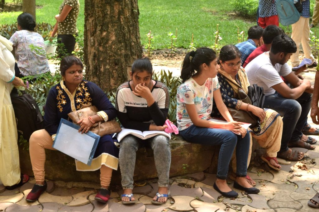 Students at an examination centre during the Joint Entrance Examination (JEE) 2019 in Kolkata, on May 26, 2019.