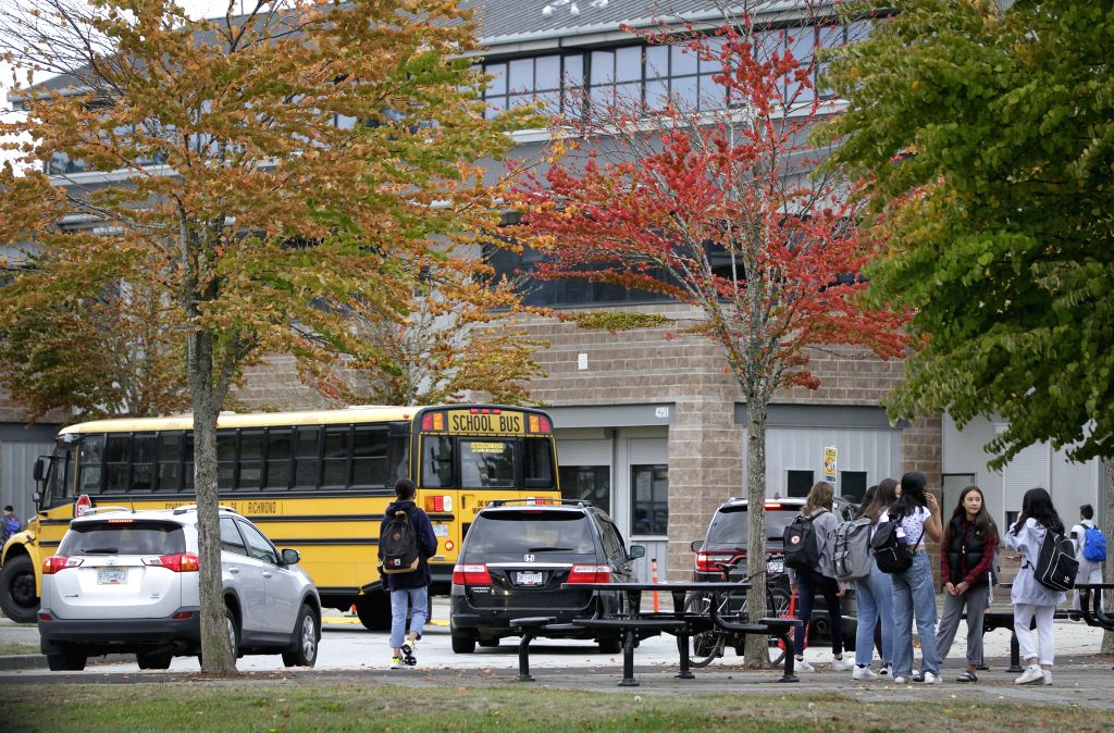 Students attend school in Vancouver, British Columbia, Canada, Sept. 21, 2020. COVID-19 exposures have been reported in at least 20 schools in British Columbia ...