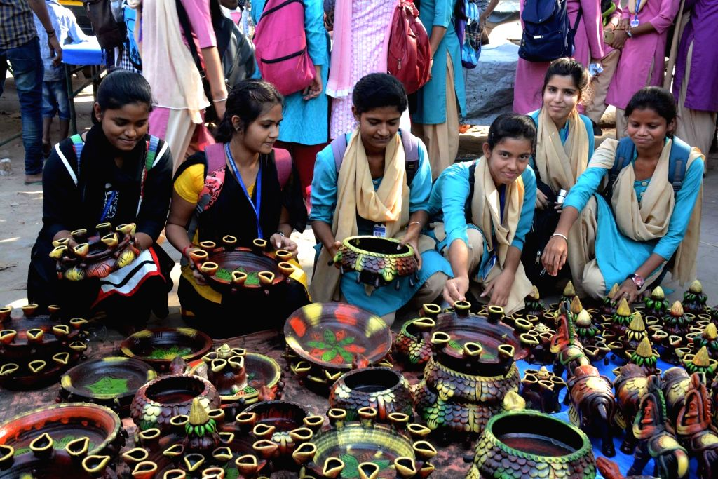 Students busy shopping ahead of Diwali in Patna on Oct 31, 2018.