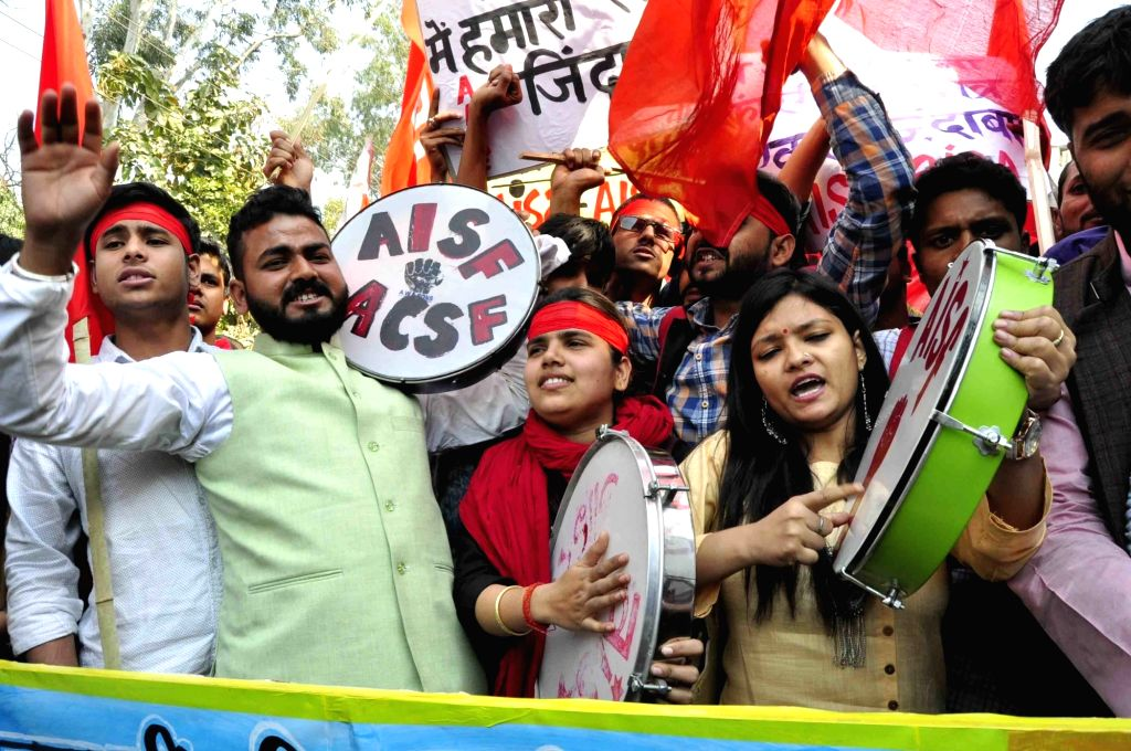 Students campaign ahead of Patna University Students' Union (PUSU) elections in Patna on Feb 8, 2018.