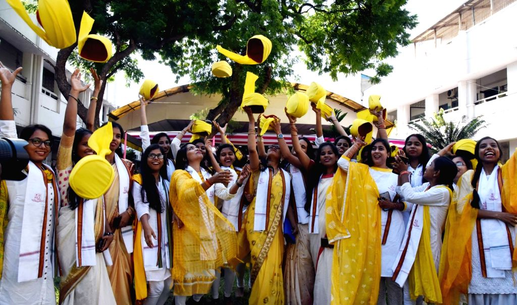 Students celebrate after receiving their degrees at the the first Convocation Ceremony of Magadh Mahila College in Patna on Sep 4, 2019.