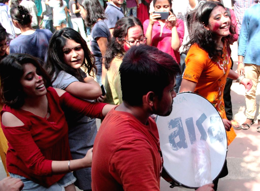 Students celebrate after the United Left alliance won all the four top posts in the Jawaharlal Nehru University Students Union (JNUSU), leaving the ABVP and NSUI way behind, in New Delhi ...